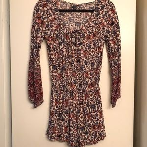 American a Eagle Long Sleeve Floral Print Romper S